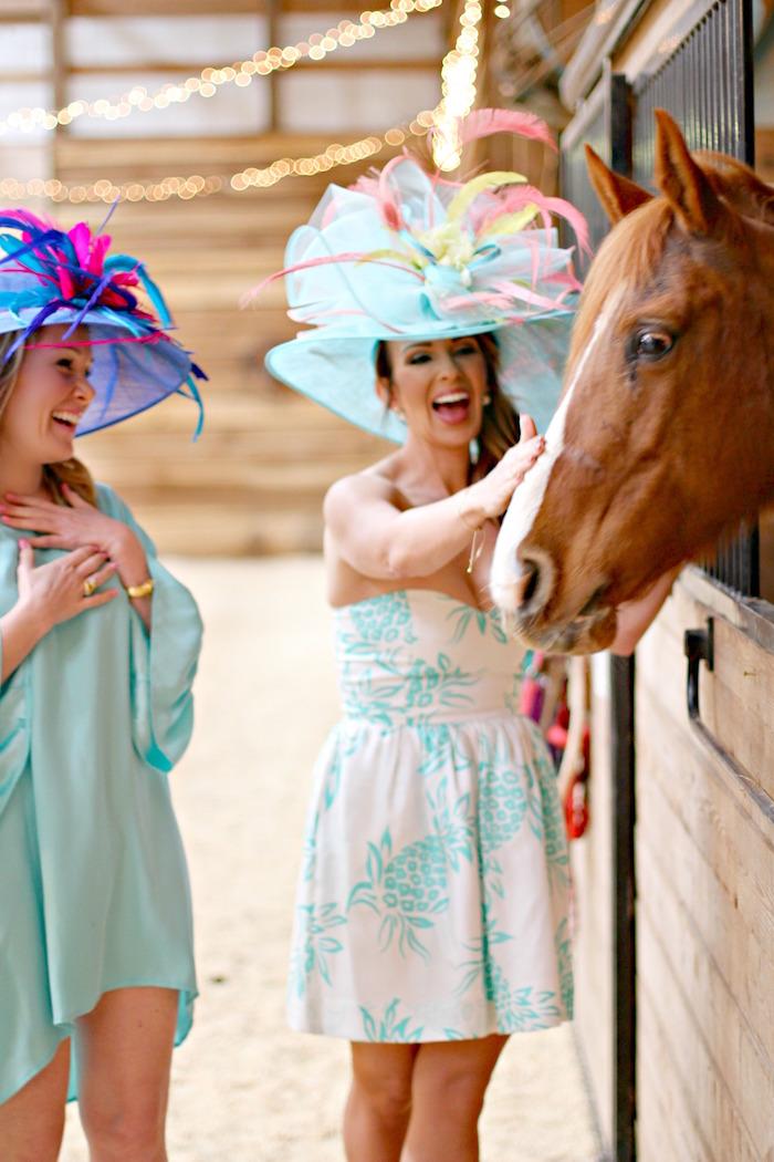 Derby Girls + Horse from a Kentucky Derby Garden Party via Kara's Party Ideas | KarasPartyIdeas.com (4)