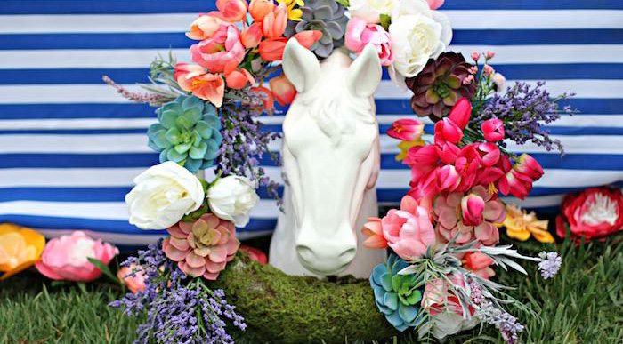 Spring Wreath + Horse Statue from a Kentucky Derby Garden Party via Kara's Party Ideas | KarasPartyIdeas.com (2)