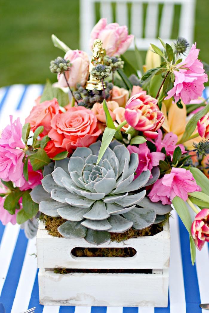 Floral Table Centerpiece from a Kentucky Derby Garden Party via Kara's Party Ideas | KarasPartyIdeas.com (53)