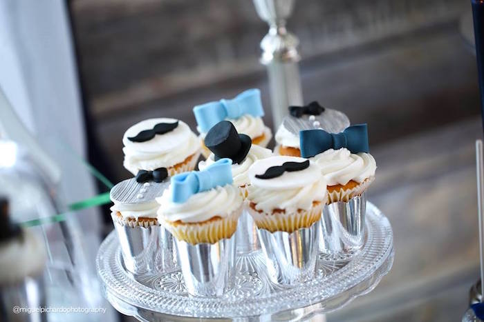 Cupcakes from a Little Man Baby Shower via Kara's Party Ideas KarasPartyIdeas.com (28)