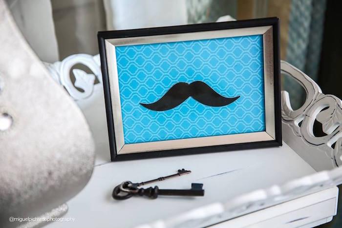 Framed Mustache Decor Piece from a Little Man Baby Shower via Kara's Party Ideas KarasPartyIdeas.com (26)