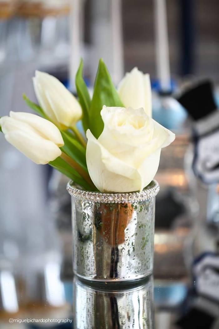 Floral Arrangement + Centerpiece from a Little Man Baby Shower via Kara's Party Ideas KarasPartyIdeas.com (15)