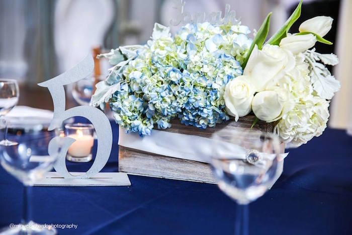 floral centerpiece table number from a little man baby shower via