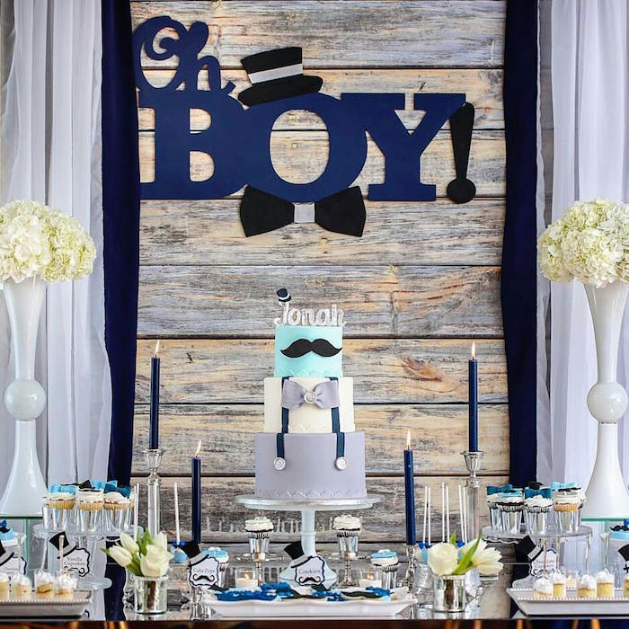 dessert table details from a little man baby shower via kara 39 s party