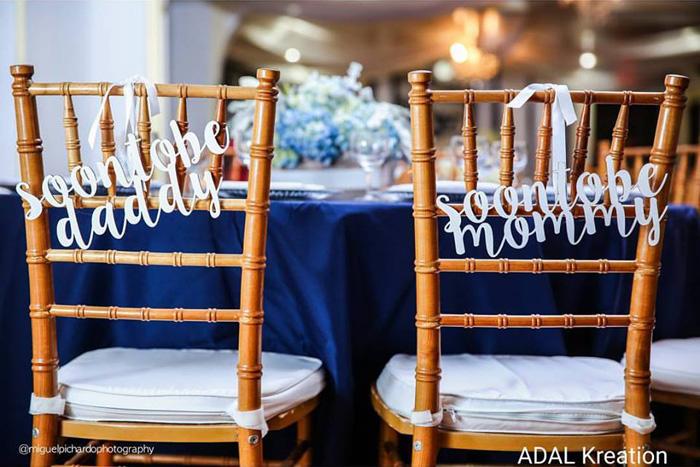 Expecting Parents Chair Backs from a Little Man Baby Shower via Kara's Party Ideas KarasPartyIdeas.com (43)