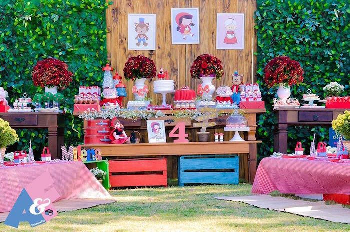 Dessert Table from a Little Red Riding Hood Birthday Party via Kara's Party Ideas | KarasPartyIdeas.com (54)