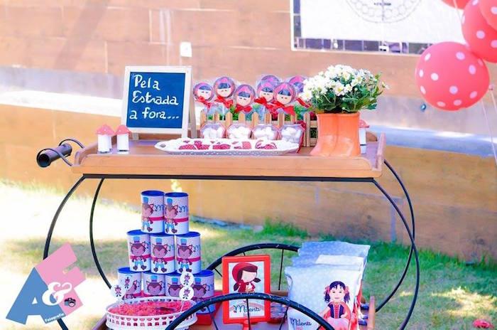 Dessert Cart from a Little Red Riding Hood Birthday Party via Kara's Party Ideas | KarasPartyIdeas.com (53)