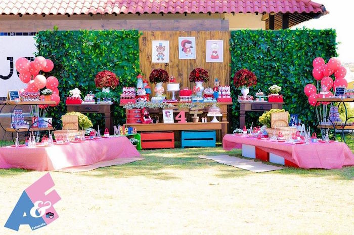 Party Setup from a Little Red Riding Hood Birthday Party via Kara's Party Ideas | KarasPartyIdeas.com (50)