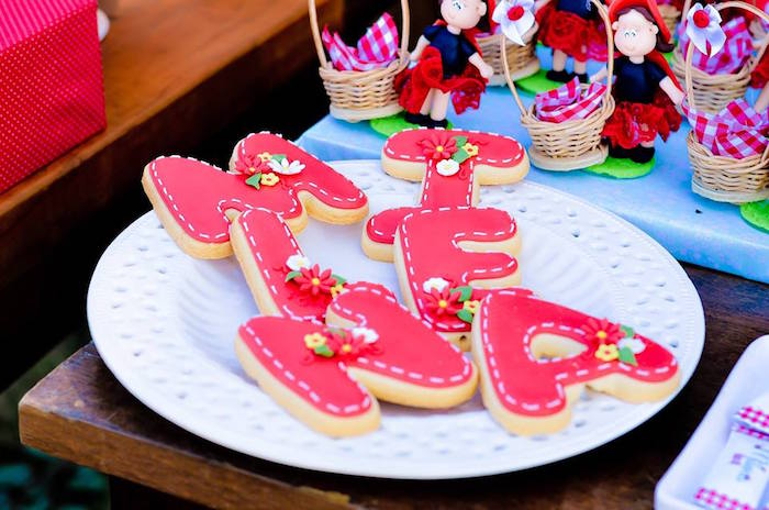 Letter Cookies from a Little Red Riding Hood Birthday Party via Kara's Party Ideas | KarasPartyIdeas.com (45)