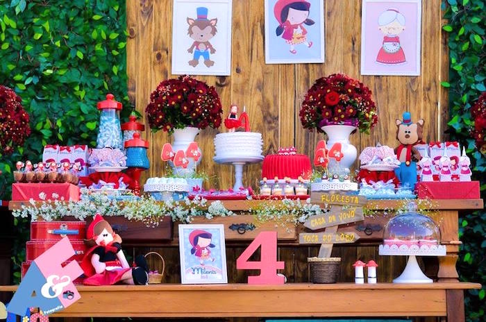 Dessert Table from a Little Red Riding Hood Birthday Party via Kara's Party Ideas | KarasPartyIdeas.com (44)