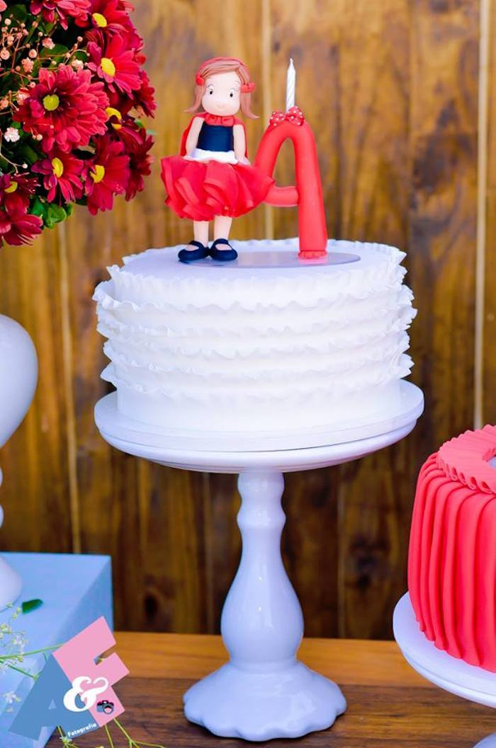 White Ruffle Cake from a Little Red Riding Hood Birthday Party via Kara's Party Ideas | KarasPartyIdeas.com (38)