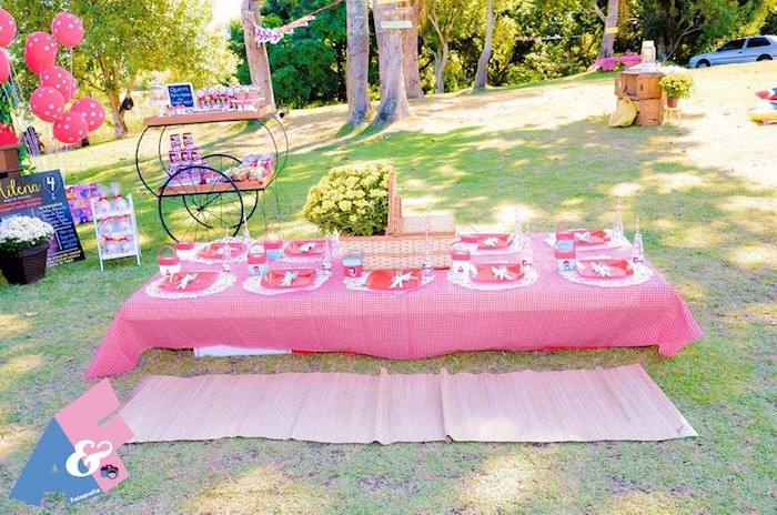 Guest + Picnic Table from a Little Red Riding Hood Birthday Party via Kara's Party Ideas | KarasPartyIdeas.com (37)