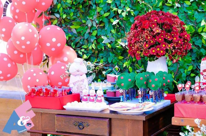 Sweet + Favor Table from a Little Red Riding Hood Birthday Party via Kara's Party Ideas | KarasPartyIdeas.com (27)