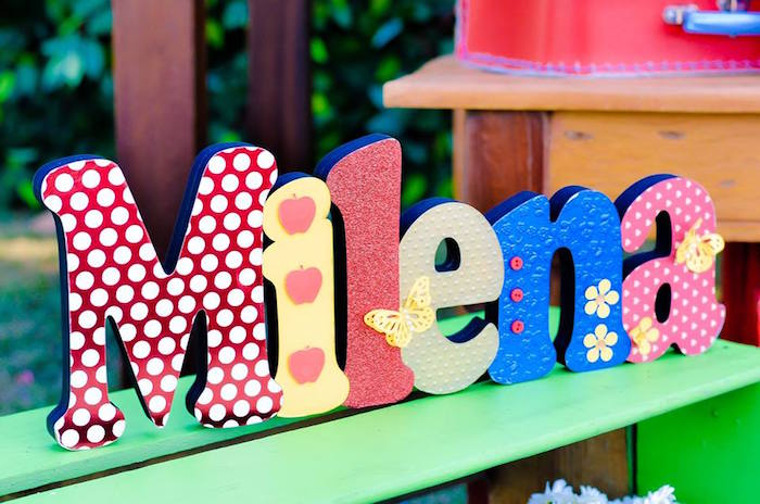 Name Letter Sign from a Little Red Riding Hood Birthday Party via Kara's Party Ideas | KarasPartyIdeas.com (5)