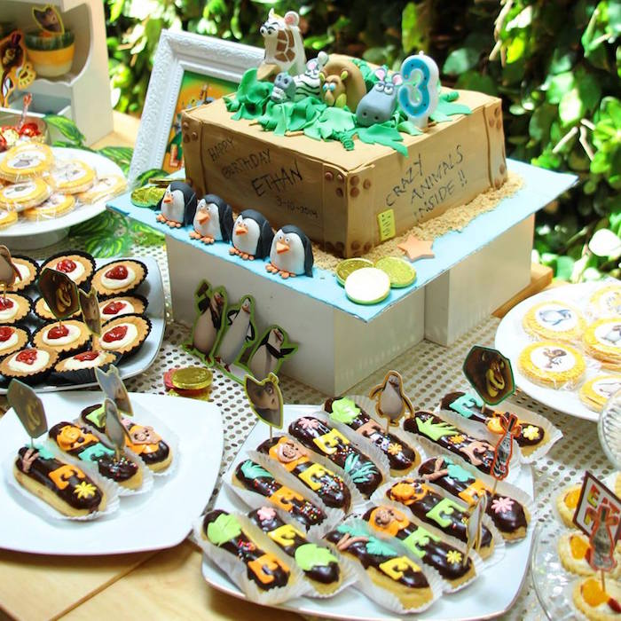 Cake Sweets From A Madagascar Themed Birthday Party Via Karas Ideas
