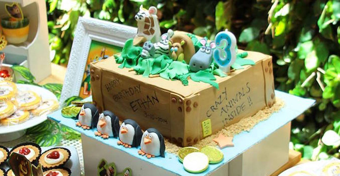 Cake from a Madagascar Themed Birthday Party via Kara's Party Ideas | KarasPartyIdeas.com (2)