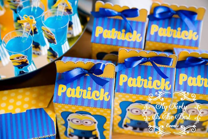 Favor Boxes from a Minions Birthday Party via Kara's Party Ideas | KarasPartyIdeas.com (32)