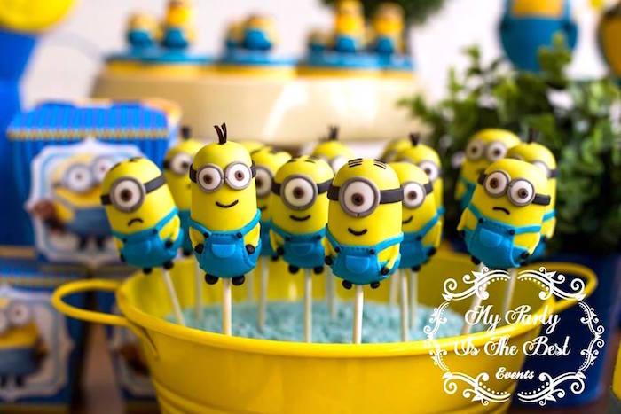 Minion Cake Pops from a Minions Birthday Party via Kara's Party Ideas | KarasPartyIdeas.com (30)