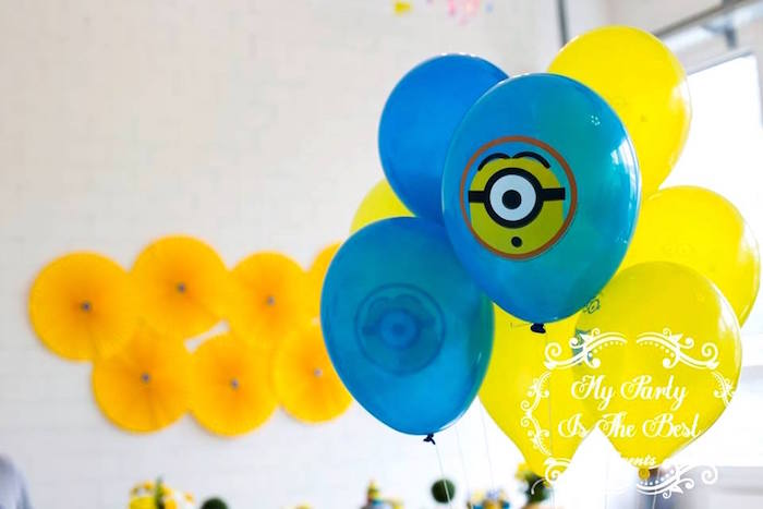 Balloons from a Minions Birthday Party via Kara's Party Ideas | KarasPartyIdeas.com (27)