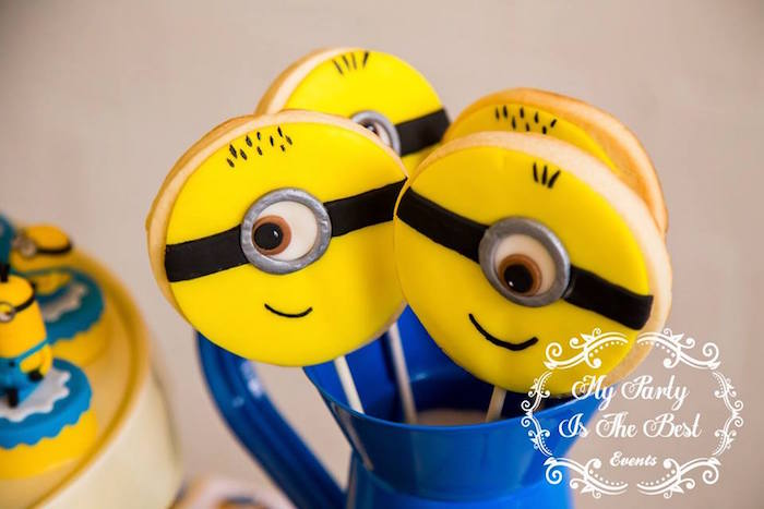Minion Cookie Pops from a Minions Birthday Party via Kara's Party Ideas | KarasPartyIdeas.com (25)