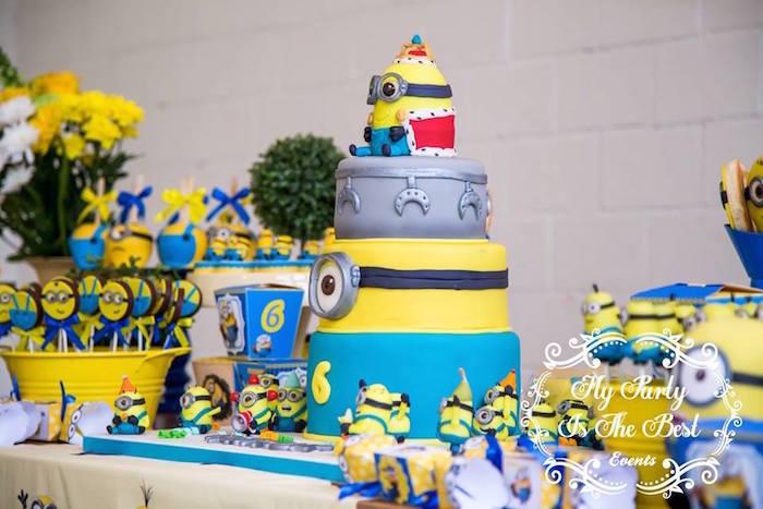 Cake Table Details from a Minions Birthday Party via Kara's Party Ideas | KarasPartyIdeas.com (42)