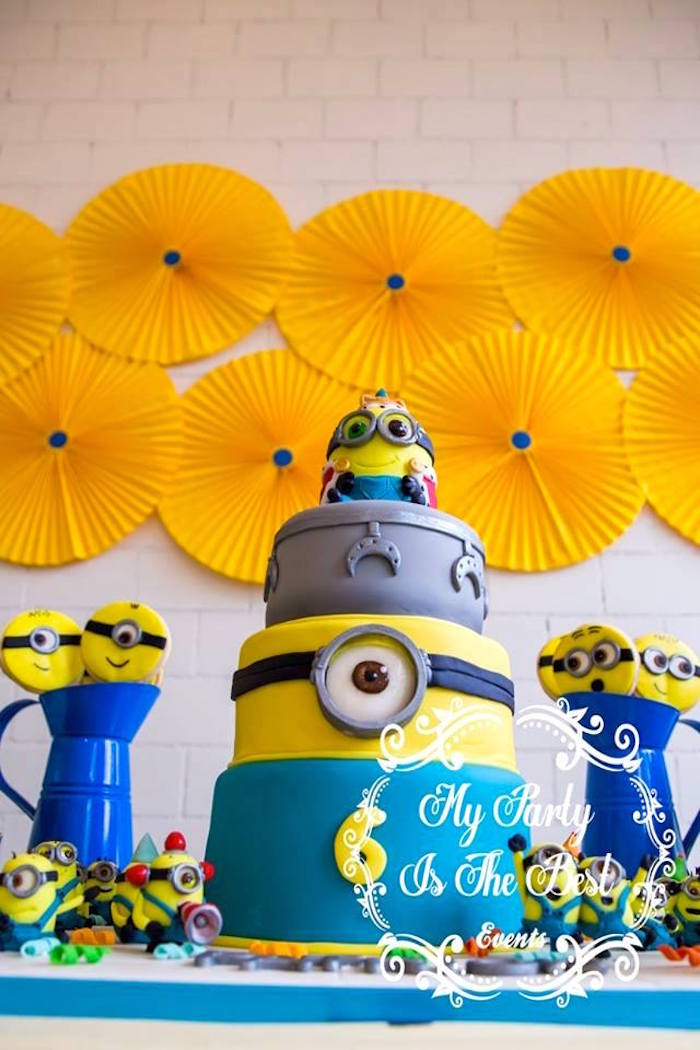 Cake from a Minions Birthday Party via Kara's Party Ideas | KarasPartyIdeas.com (23)