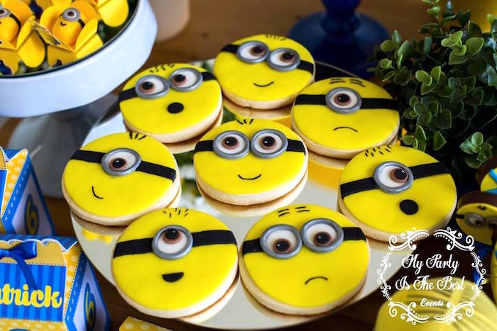 Minion Cookies from a Minions Birthday Party via Kara's Party Ideas | KarasPartyIdeas.com (22)