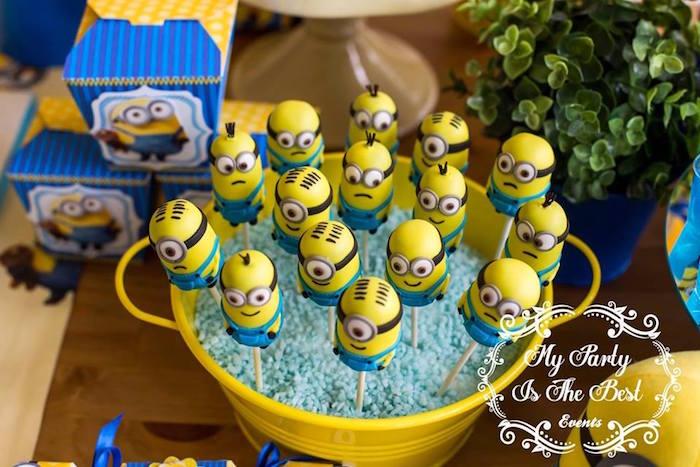 Minion Cake Pops from a Minions Birthday Party via Kara's Party Ideas | KarasPartyIdeas.com (21)