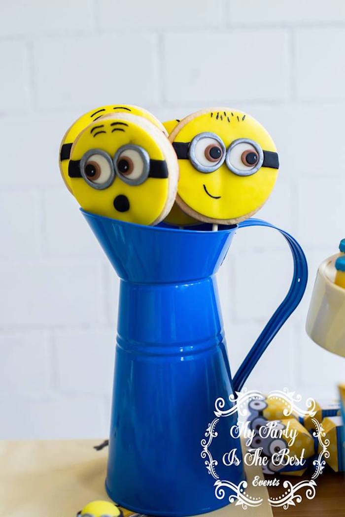 Minion Cookie Pops from a Minions Birthday Party via Kara's Party Ideas | KarasPartyIdeas.com (16)