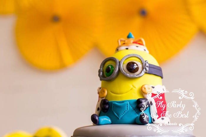 Minion Cake Topper from a Minions Birthday Party via Kara's Party Ideas | KarasPartyIdeas.com (41)