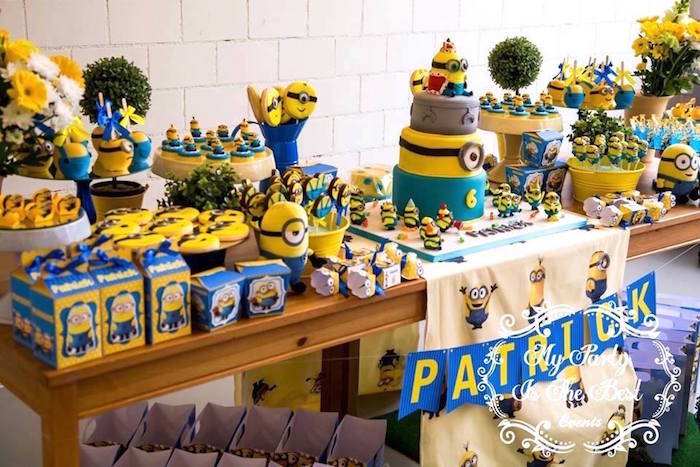 Dessert Tablescape from a Minions Birthday Party via Kara's Party Ideas | KarasPartyIdeas.com (12)