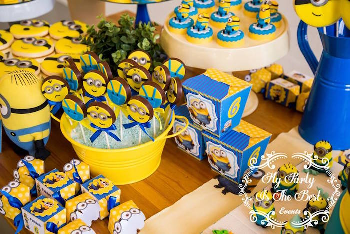 Dessert Table Details from a Minions Birthday Party via Kara's Party Ideas | KarasPartyIdeas.com (10)