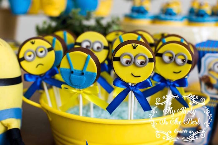 Minion Chocolate Lollipops from a Minions Birthday Party via Kara's Party Ideas | KarasPartyIdeas.com (9)