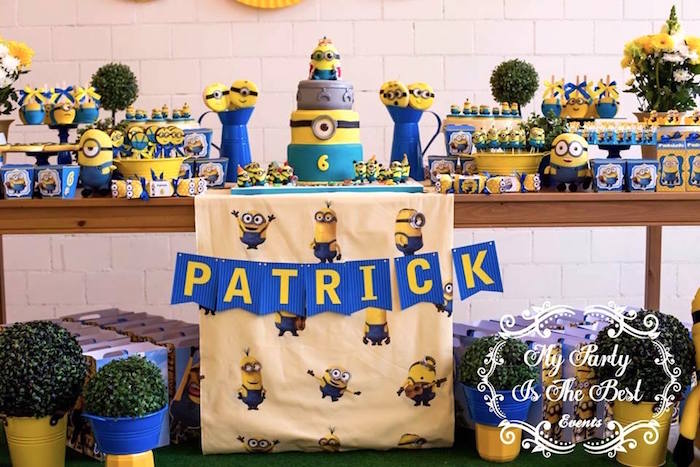 Dessert Table Details from a Minions Birthday Party via Kara's Party Ideas | KarasPartyIdeas.com (5)