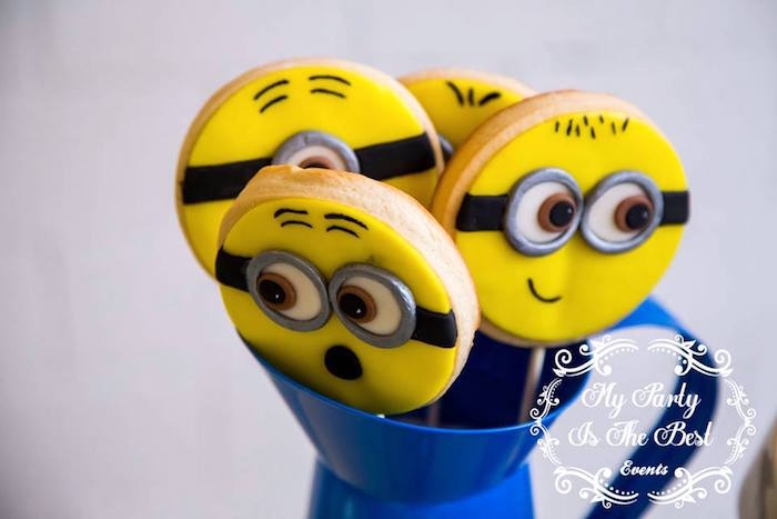 Minion Cookie Pops from a Minions Birthday Party via Kara's Party Ideas | KarasPartyIdeas.com (4)