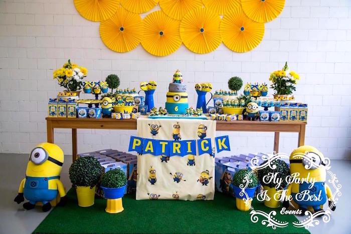 Dessert Table from a Minions Birthday Party via Kara's Party Ideas | KarasPartyIdeas.com (39)