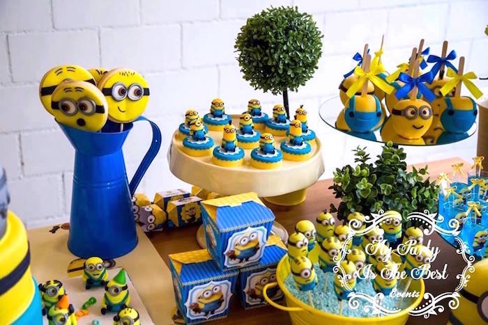 Sweet Table Details from a Minions Birthday Party via Kara's Party Ideas | KarasPartyIdeas.com (37)