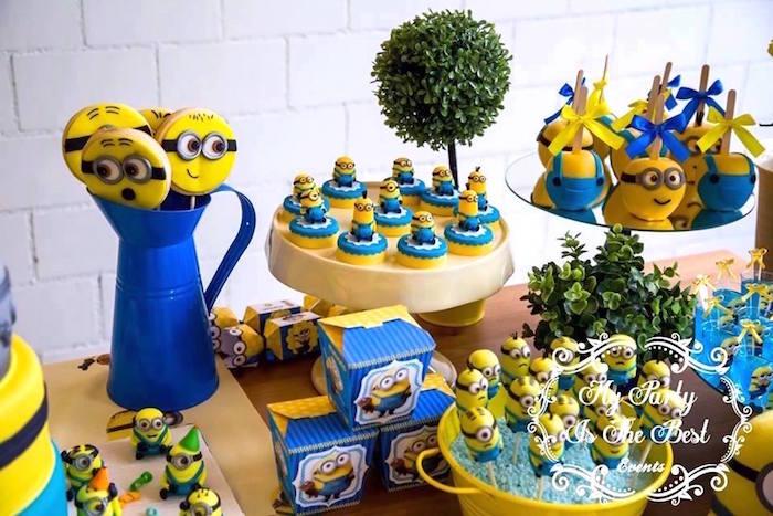 Sweet Table Details from a Minions Birthday Party via Kara's Party Ideas | KarasPartyIdeas.com (37)
