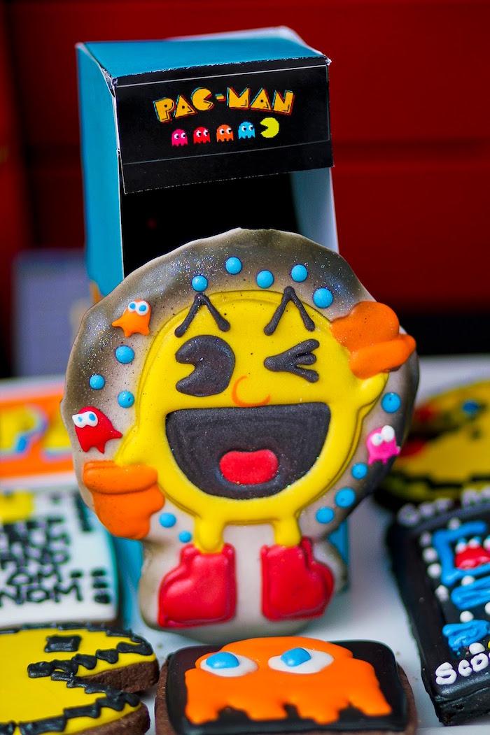 Pac-Man Cookie from a Pac Man Themed Birthday Party via Kara's Party Ideas | KarasPartyIdeas.com (27)