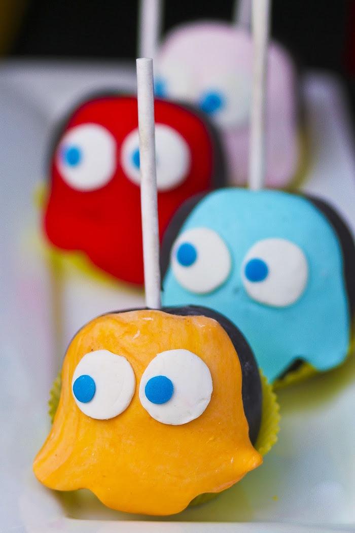 Ghost Pops from a Pac Man Themed Birthday Party via Kara's Party Ideas | KarasPartyIdeas.com (25)