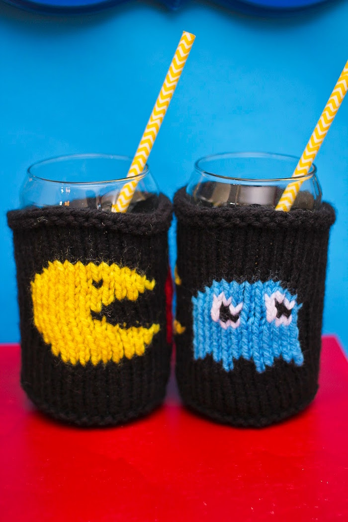 Pac-Man-inspired Drink Covers from a Pac Man Themed Birthday Party via Kara's Party Ideas | KarasPartyIdeas.com (23)