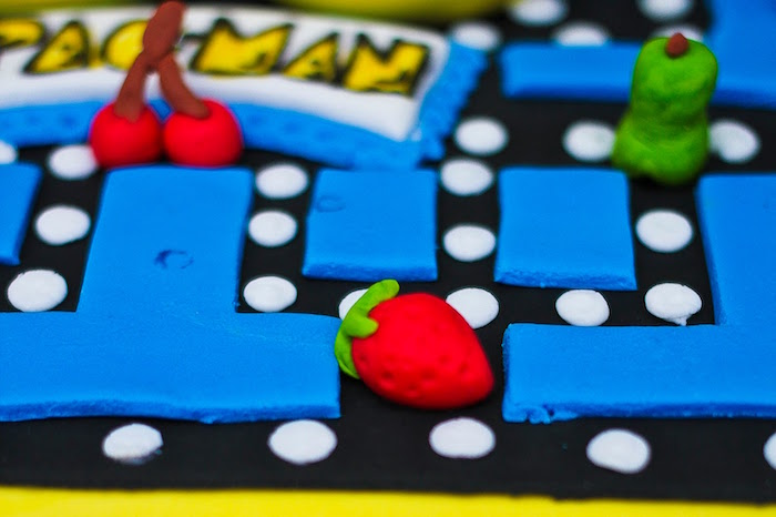 Pac-Man Game Cake Detail from a Pac Man Themed Birthday Party via Kara's Party Ideas | KarasPartyIdeas.com (19)