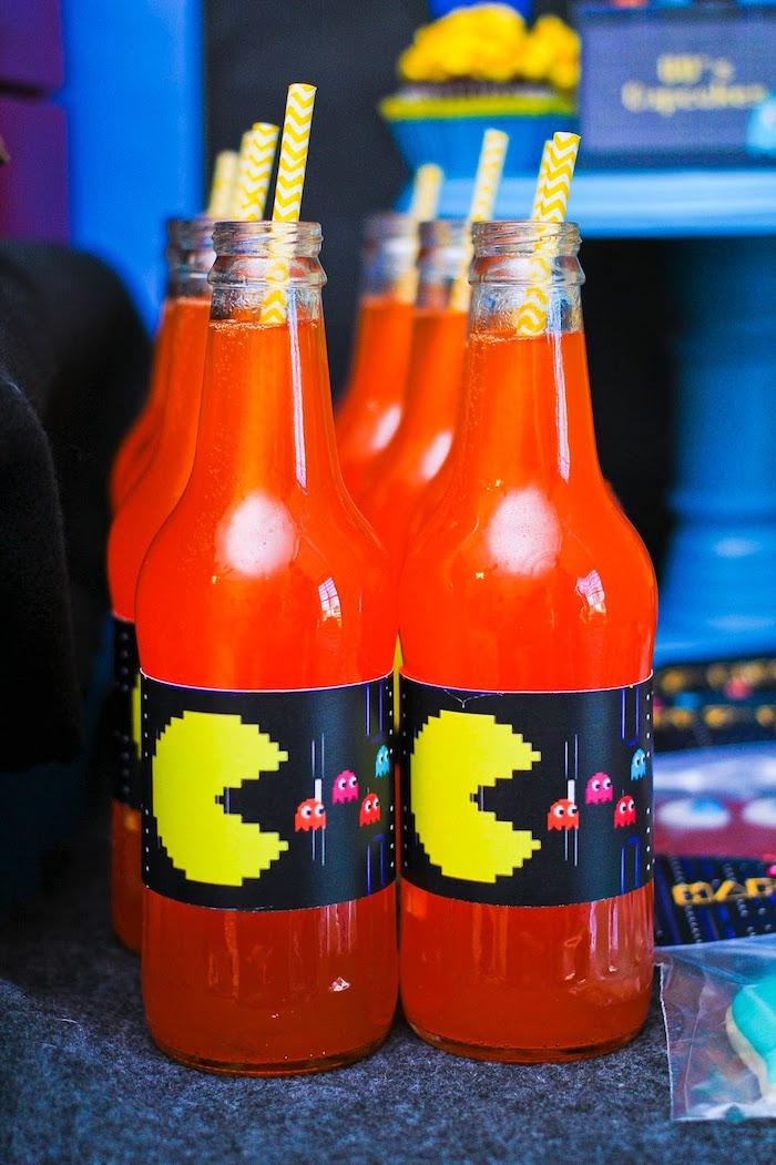 Drink Bottles from a Pac Man Themed Birthday Party via Kara's Party Ideas | KarasPartyIdeas.com (12)