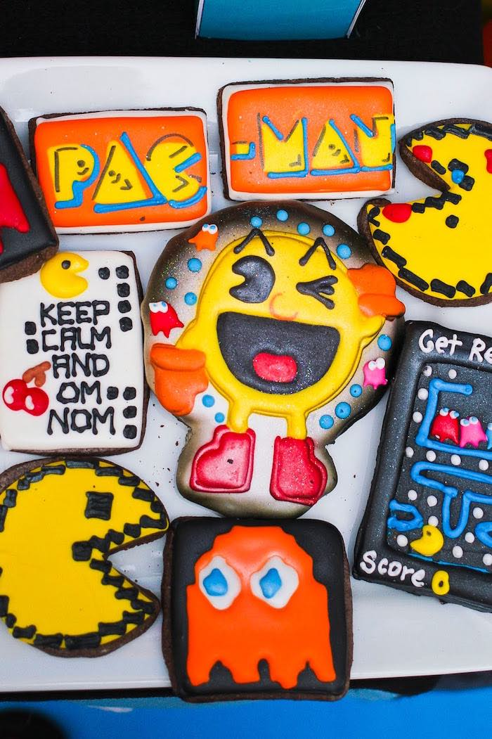 Pac Man-inspired Cookies from a Pac Man Themed Birthday Party via Kara's Party Ideas | KarasPartyIdeas.com (6)