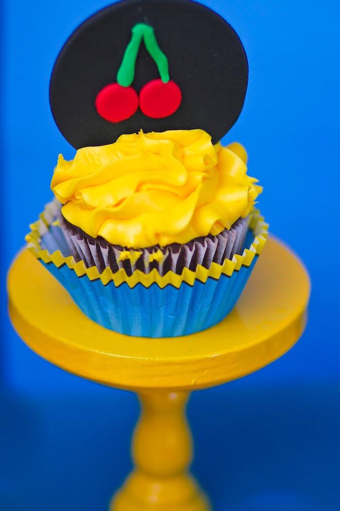 Cupcake from a Pac Man Themed Birthday Party via Kara's Party Ideas | KarasPartyIdeas.com (34)