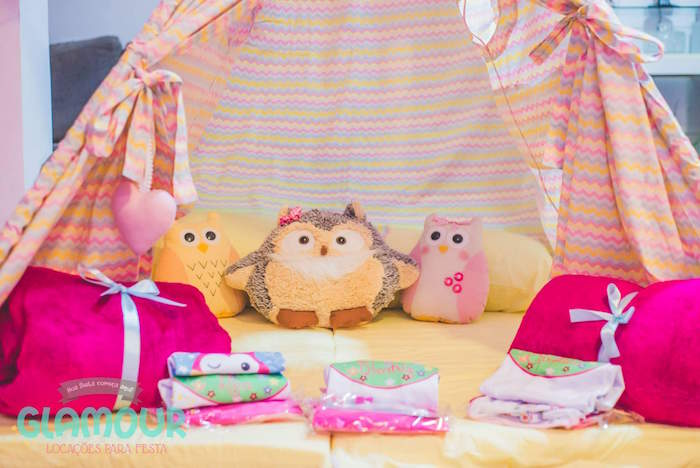 Tent + Slumber Details from a Pajama Sleepover Themed Birthday Party via Kara's Party Ideas | KarasPartyIdeas.com (20)