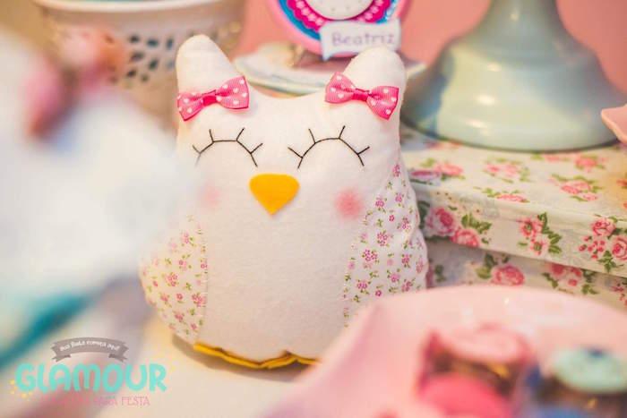 Plush Owl from a Pajama Sleepover Themed Birthday Party via Kara's Party Ideas | KarasPartyIdeas.com (15)