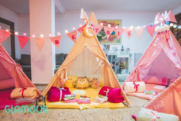 Slumber Tents from a Pajama Sleepover Themed Birthday Party via Kara's Party Ideas | KarasPartyIdeas.com (9)