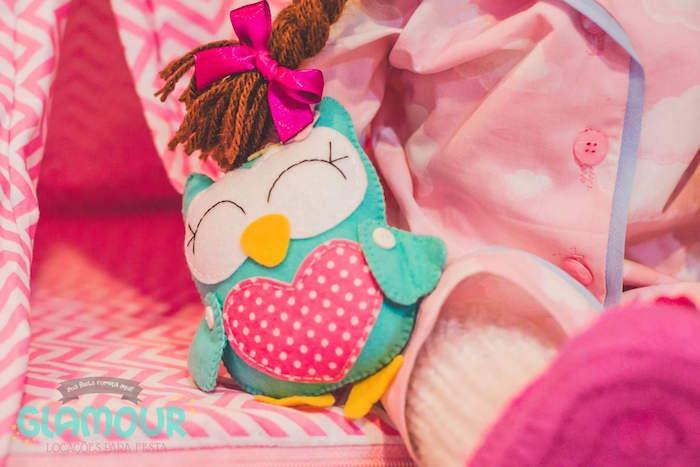 Plush Owl from a Pajama Sleepover Themed Birthday Party via Kara's Party Ideas | KarasPartyIdeas.com (5)