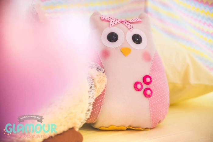 Plush Owl from a Pajama Sleepover Themed Birthday Party via Kara's Party Ideas | KarasPartyIdeas.com (3)